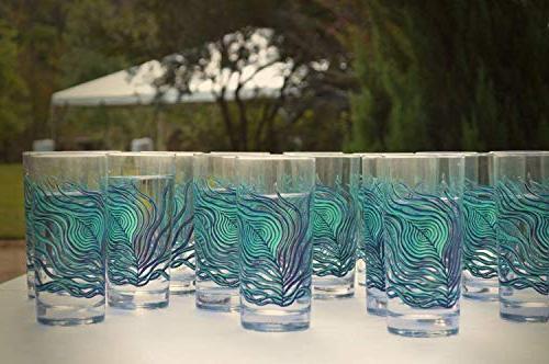 Peacock - Set of 2 Highball Glasses, Everyday Glasses