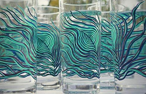 Peacock Feather Set Glasses, Gift Her, Everyday