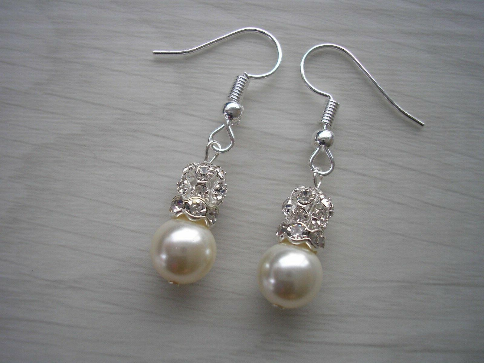pearl earrings crystal diamante bride bridesmaid drop