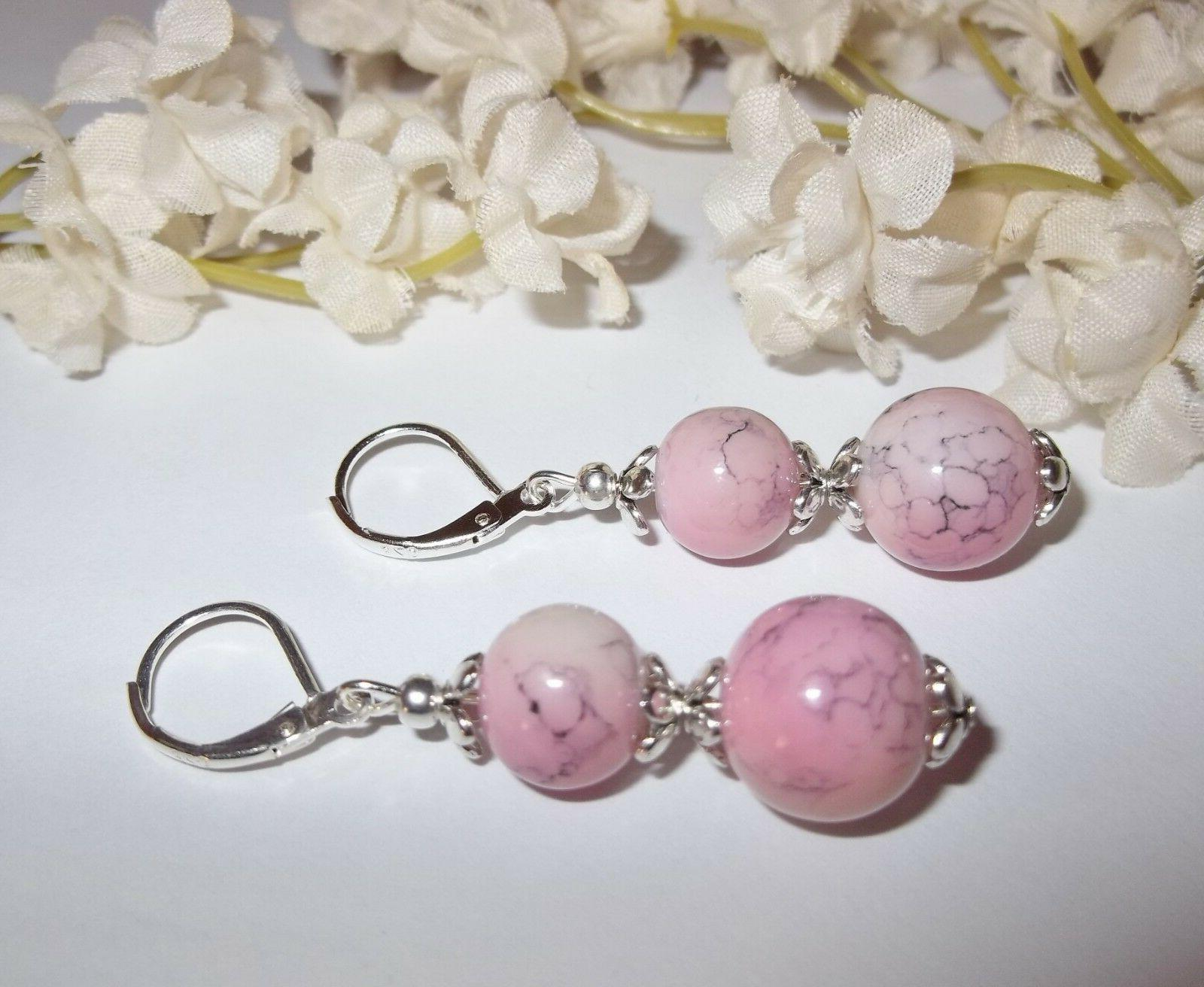 pink and gray beaded earrings handmade set