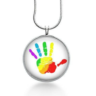 rainbow handprint pendant necklace jewelry for her