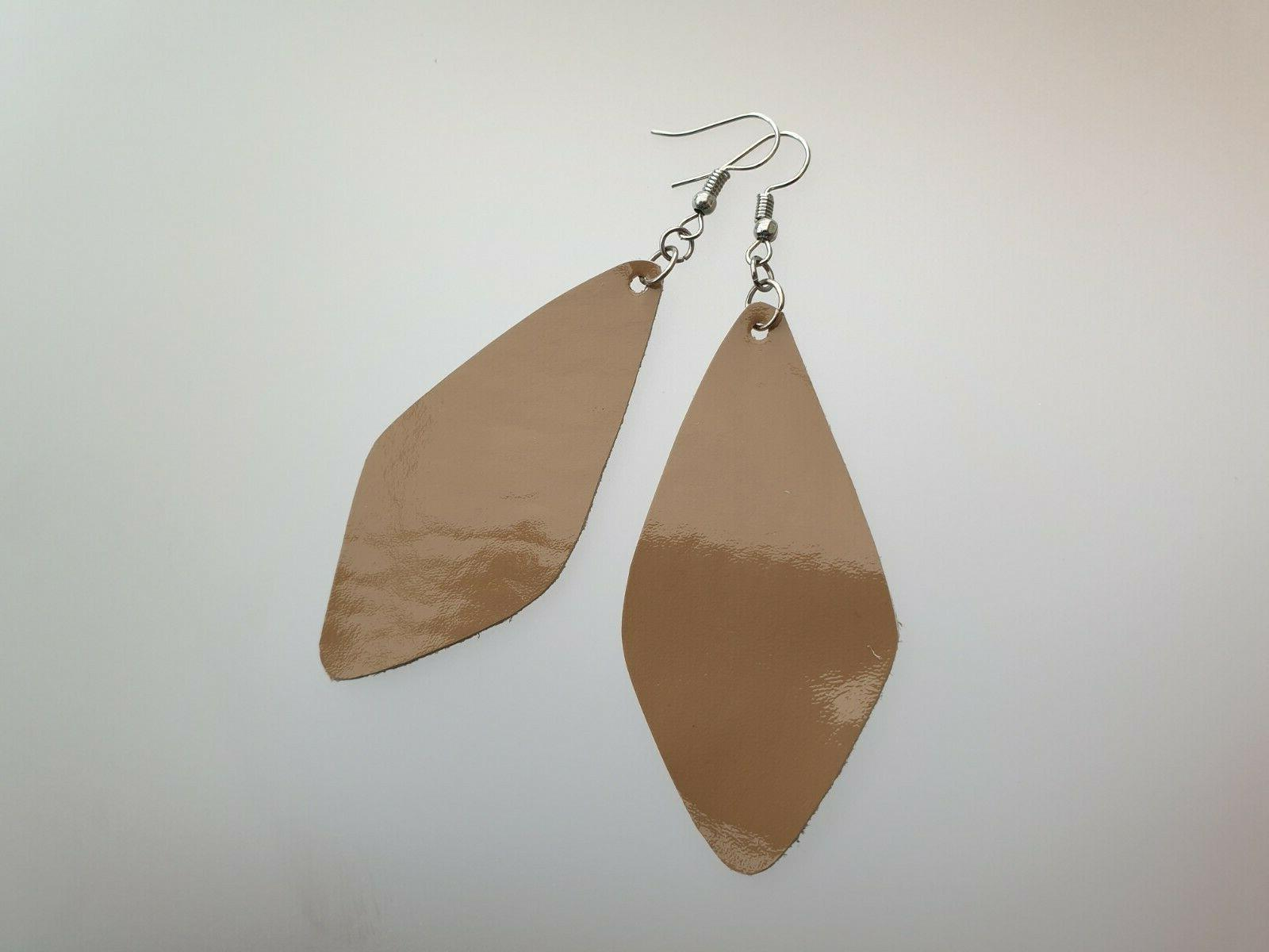 Handmade Leather Teardrop Dangle Drop Jewelry Gift Her