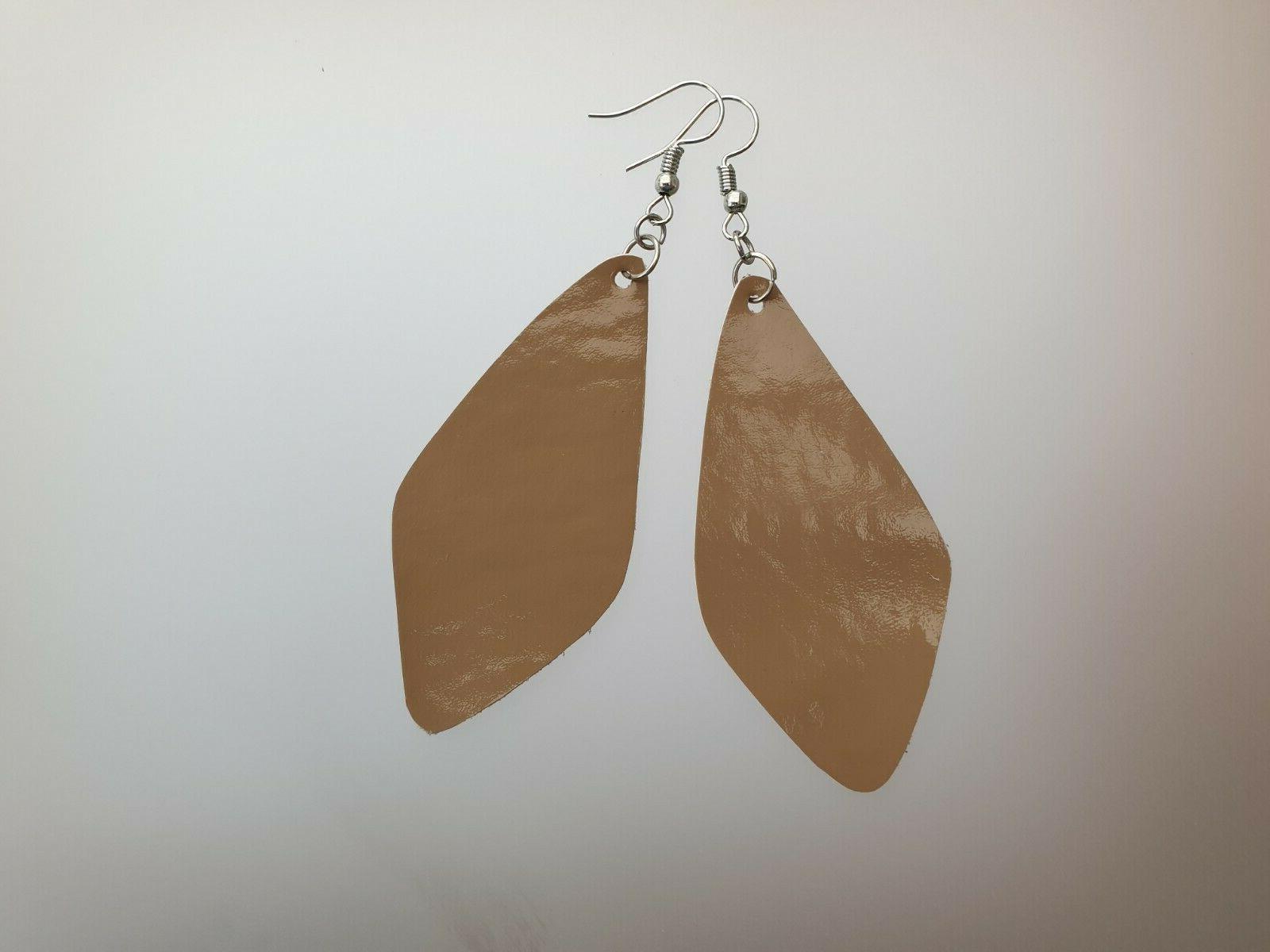 real leather teardrop dangle drop earrings fashion