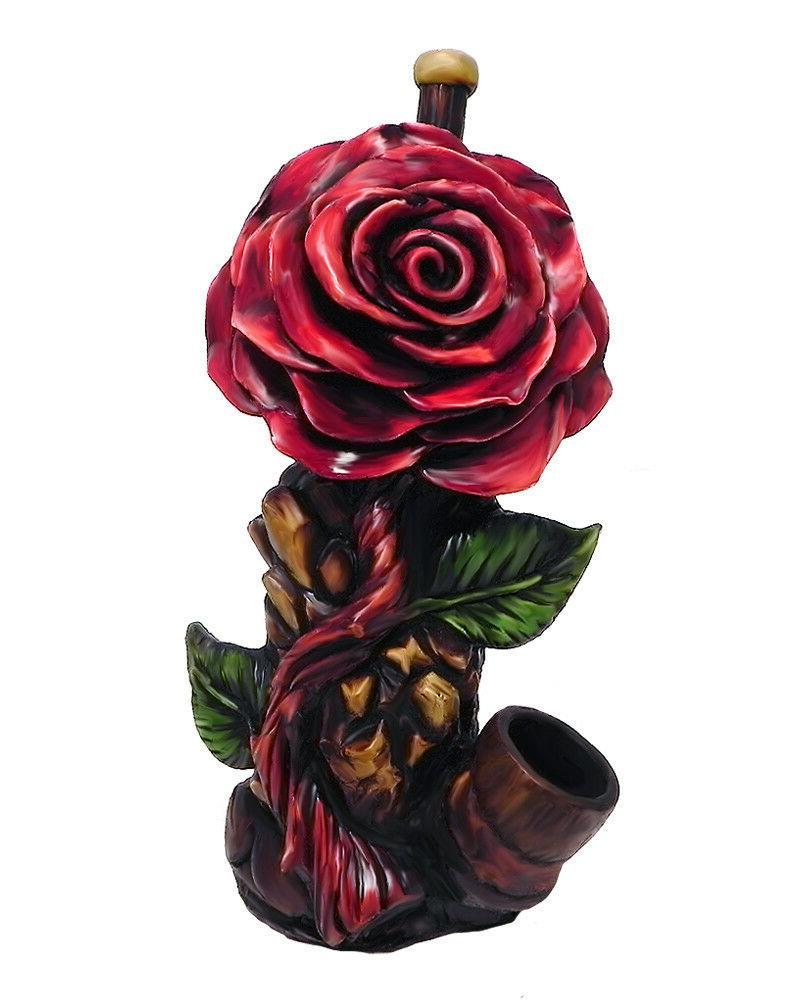 Red Rose Flower Handmade Tobacco Smoking Hand Pipe Love & Ro