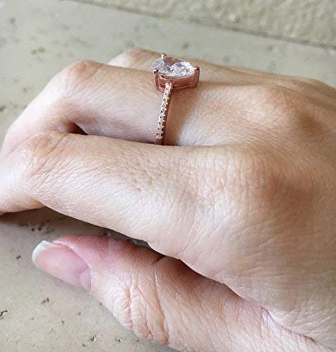 Rose Cubic Zirconia Teardrop Promise Ring