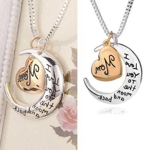 Womens Heart & Moon Mom Necklaces Silver Xmas Gifts For Her