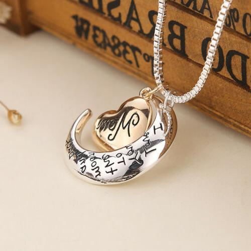 Rose Moon Necklaces Silver Xmas Her Mother Women Gift