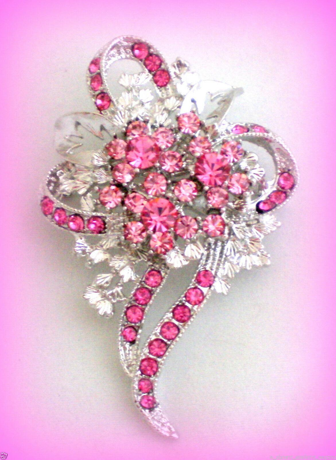 ROSE PINK CRYSTAL BREAST CANCER AWARENESS RIBBON FLOWER BROO