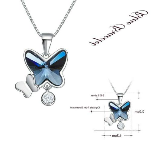 S925 Blue Crystal Butterfly Gifts Women
