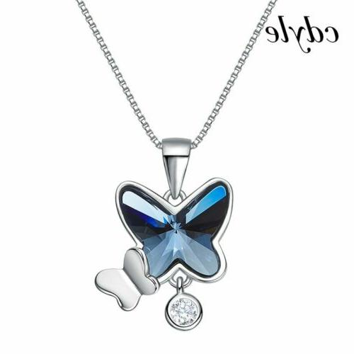 s925 silver and blue crystal butterfly necklaces