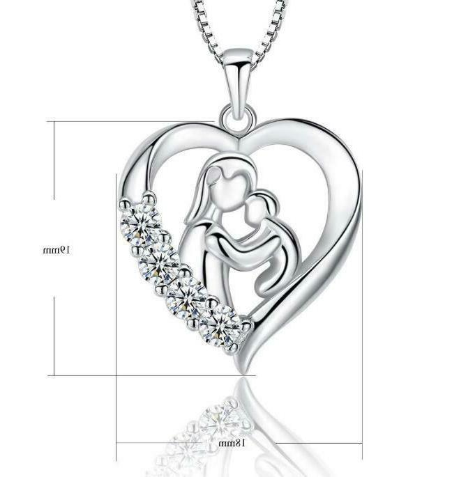S925 Mother Child Heart & & Son for Her,