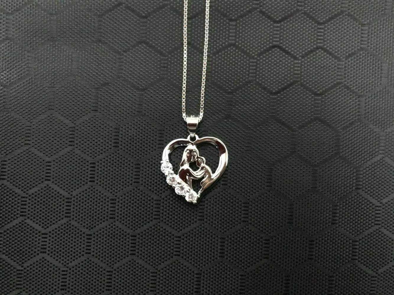 S925 Mother and Child Necklace, Heart & Son for Her, 18""