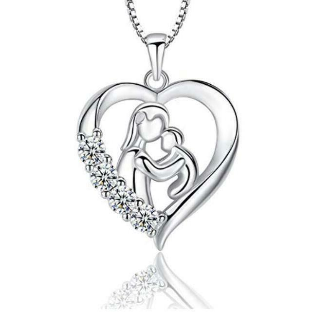 s925 silver mother and child necklace heart