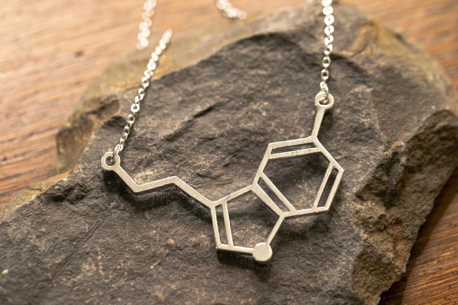 serotonin molecule pendant necklace gift for her