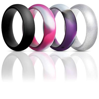 ThunderFit Silicone Rings Wedding Bands for Women 4 Pack Pur