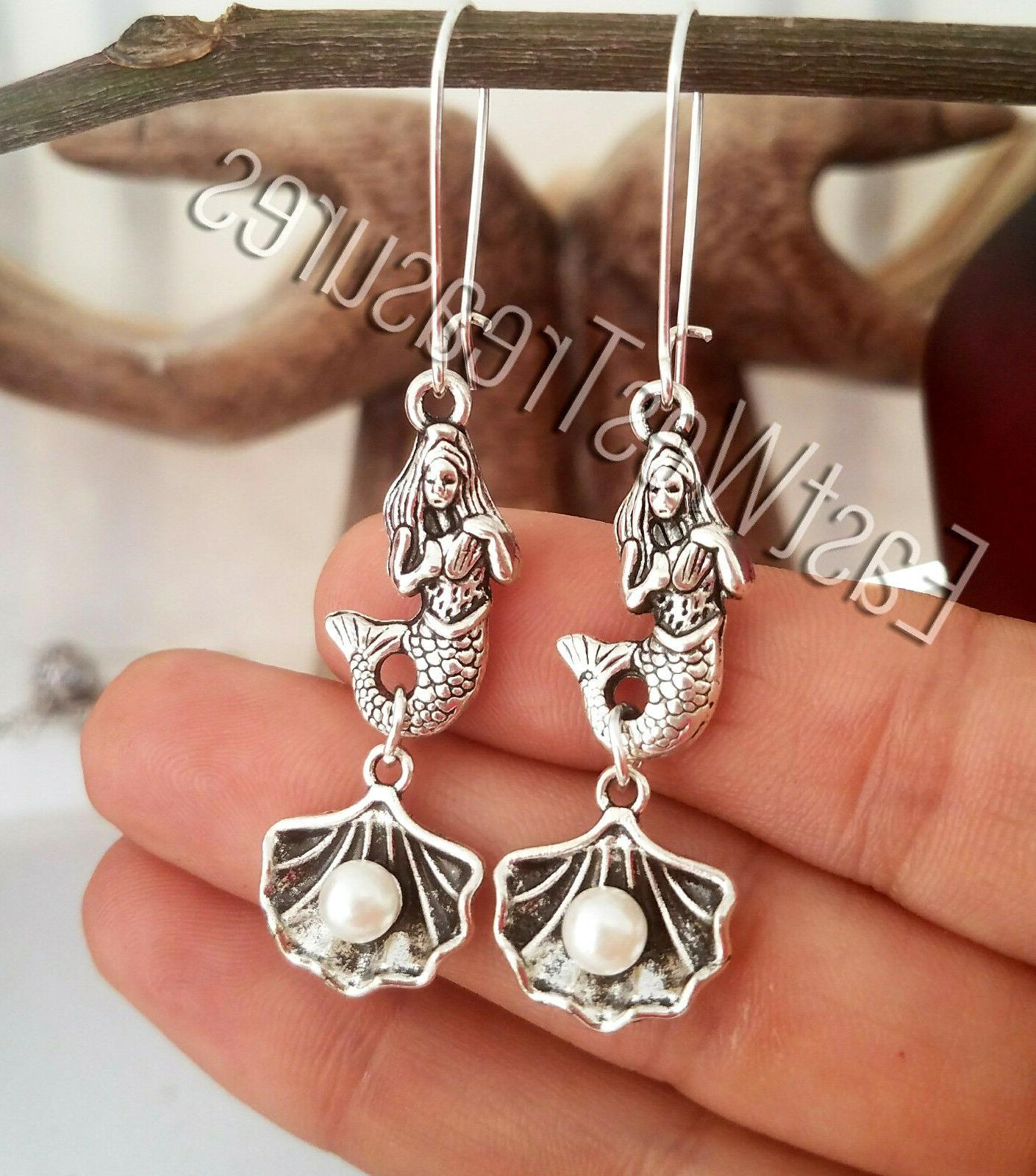 Silver Little seashells pearl threader earrings