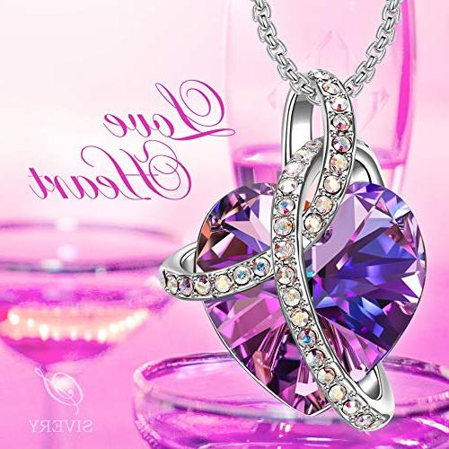 SIVERY Christmas for Mom Heart Women Necklace with Purple Crystals, Jewelry for Women Gifts Her