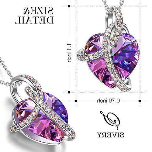 SIVERY Christmas for Heart Jewelry Purple Swarovski for Women Gifts Her