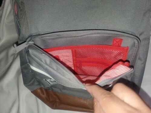 Herschel Quiz Grey Leather Backpack