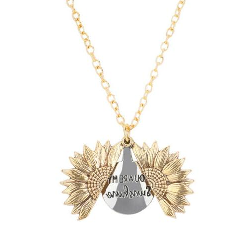 VALENTINE'S DAY HER Locket Necklace Sunflower You are Gold