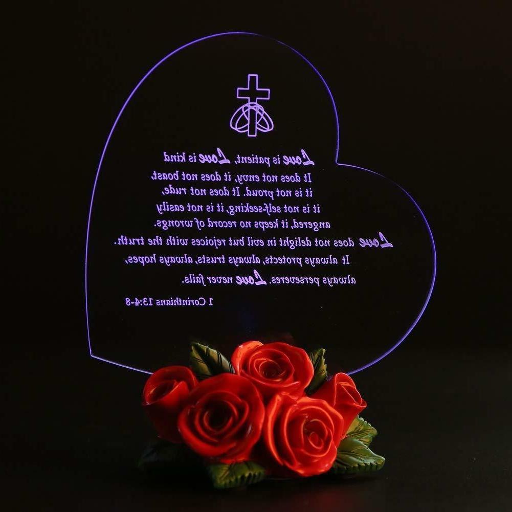 BIRTHDAY LED Heart Decor Rose Base Love Girl Wife