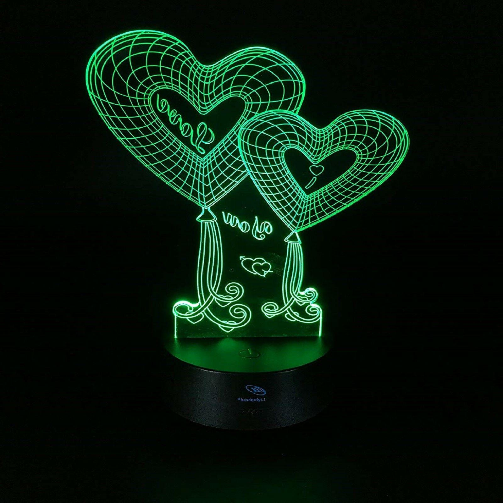 Valentines Gift Her Women Girls 3D Night LED 7Colors