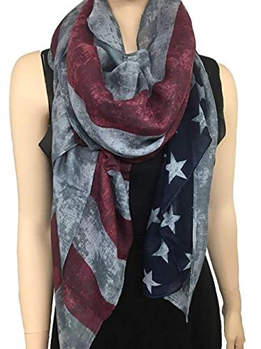 vintage faded american flag scarf red white