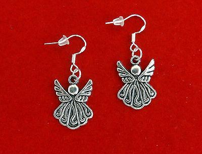 vintage style silver angel earrings christmas easter
