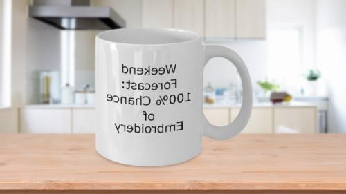 Weekend Embroidery-Novelty Gift Coffee Tea Mug for Her-Embro
