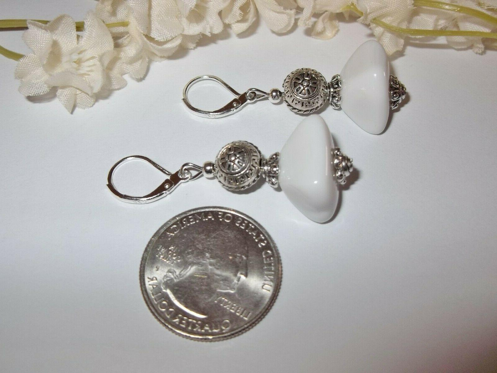 White and Silver Beaded Earring Lever Set For Her