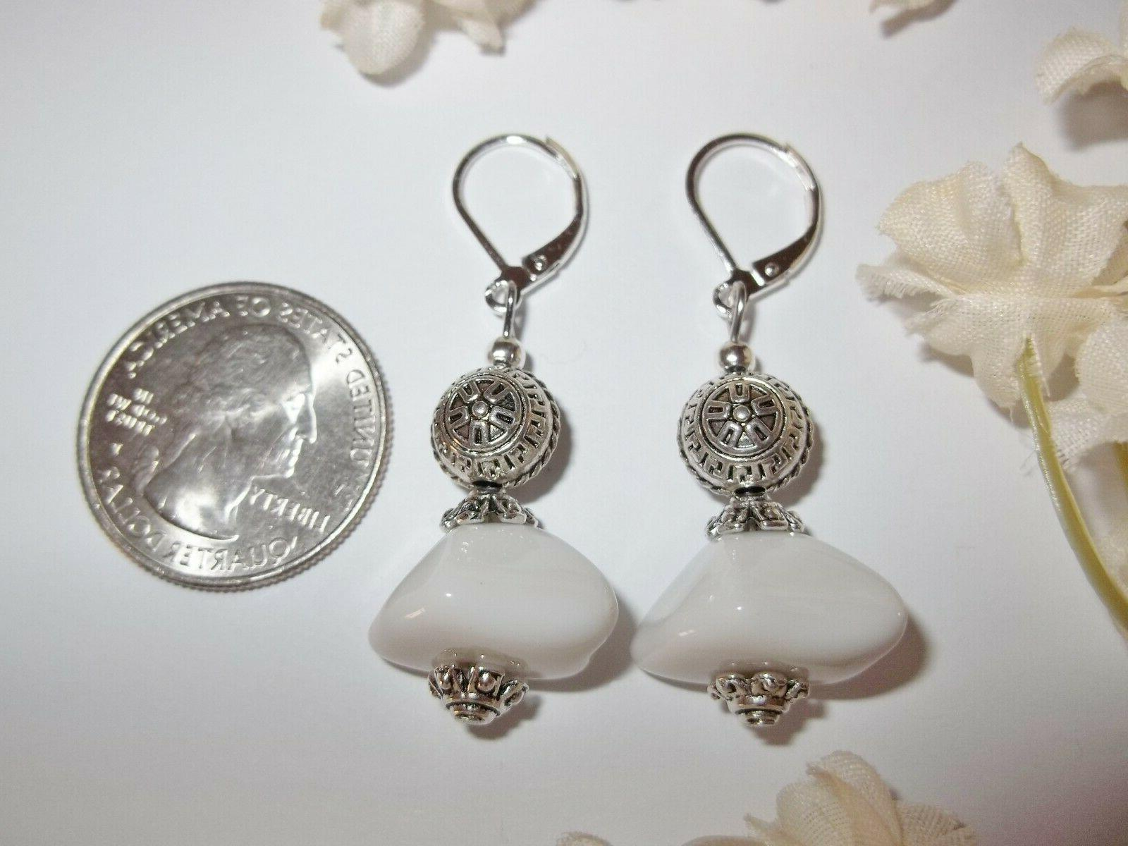 White Silver Earring Set Drop For
