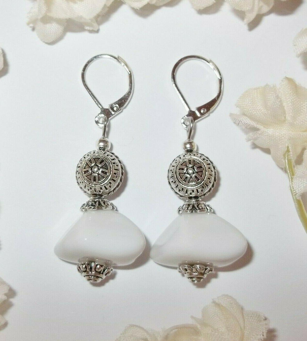 white and silver beaded earring lever back