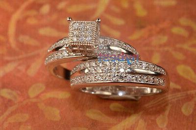 White Ring Wedding Band Bridal For 2 pc 6