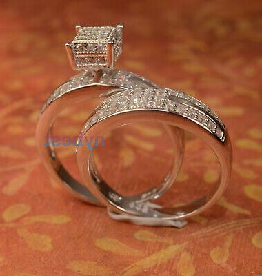 White Gold Ring Band Bridal Set For Her 2 size 6