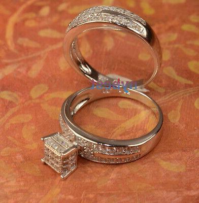 White Ring Wedding Band Bridal Set 2 size 6