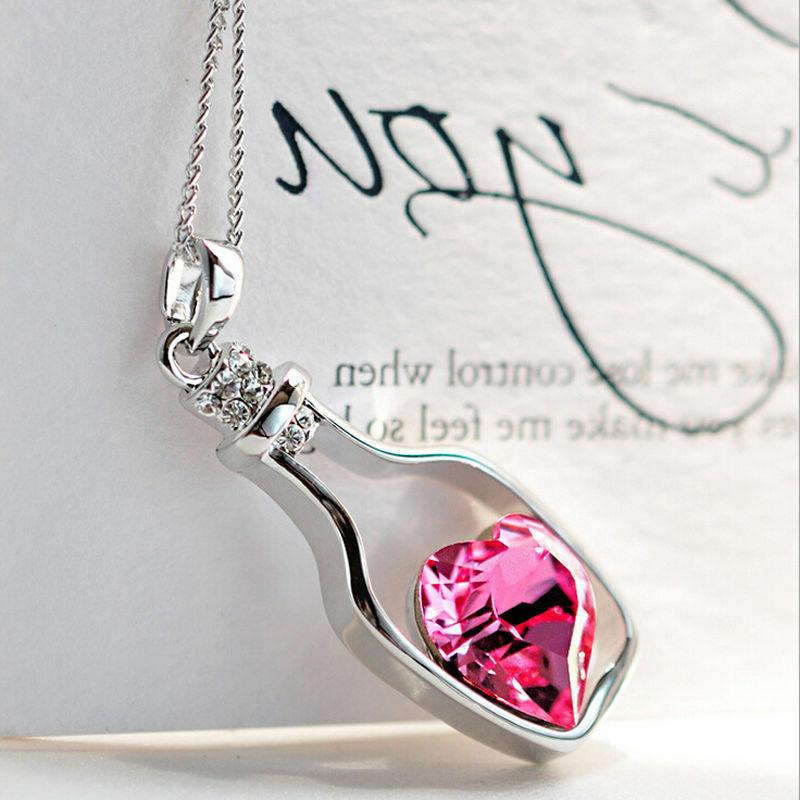 Women's Fashion Jewelry Love Drift Bottle Pendant Gift for Her w Box