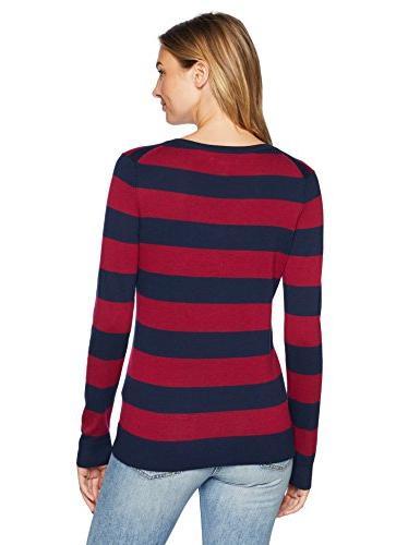 Amazon Essentials Women's V-Neck Stripe Sweater, Navy/Burgundy,