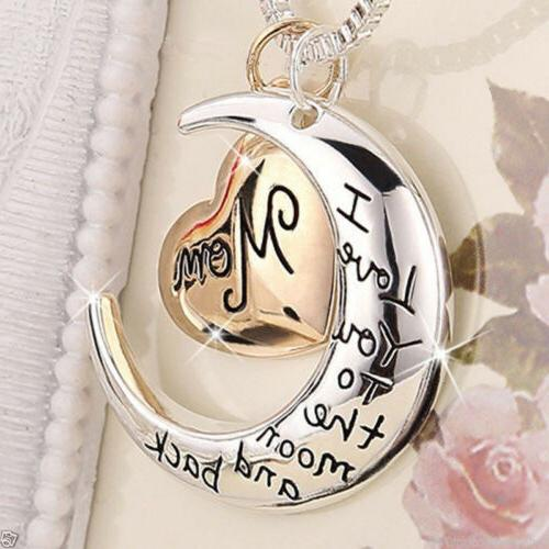 Rose Gold Heart & Moon Mom Necklaces Silver Xmas Gifts For H