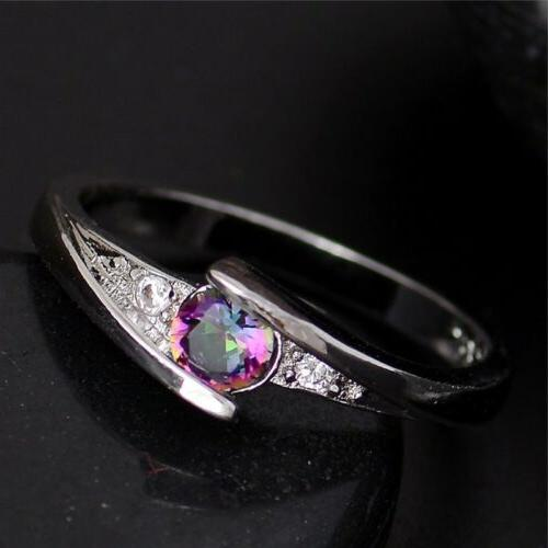 Zircon Wedding Rings for Her Him Women Size 6 7 8 9 10 Multi
