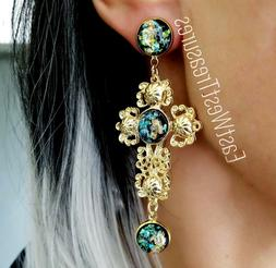 Large Rhinestone Crystal dangle drop Cross Statement Earring