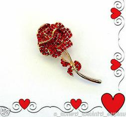 LONG STEM RED ROSE BROOCH PIN~VALENTINES BIRTHDAY MOTHERS DA
