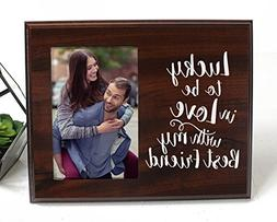 Lucky to be in love Romantic Gift picture frame for boyfrien