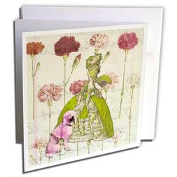 3dRose Marie and Her Poodle, Greeting Cards, 6 x 6 inches, s