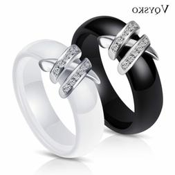 Matching Black White Simple Style CZ Ceramic Rings Xmas Gift