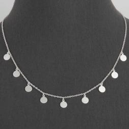 Matte Silver Multi Disc Coin Charm Necklace Women's Fashion