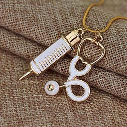 Medical Stethoscope Charm Syringe Pendant Necklace Alloy Cha
