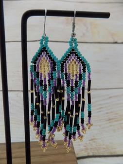 Handmade Mexican Bead Earrings Huichol Jewelry Bohemian Hipp