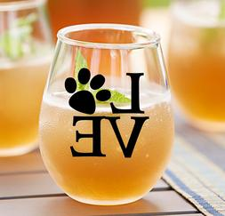 Mom Wine Gift - Dog Mom / Paw Print Stemless Wine Glass / Wi
