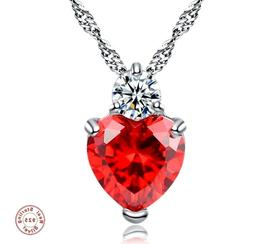 Mother's Day Gift for Her Crystal Red Heart Shaped Pendant N