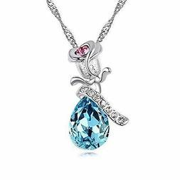Mothers Day Gift for her Teardrop blue Crystal rose Necklace